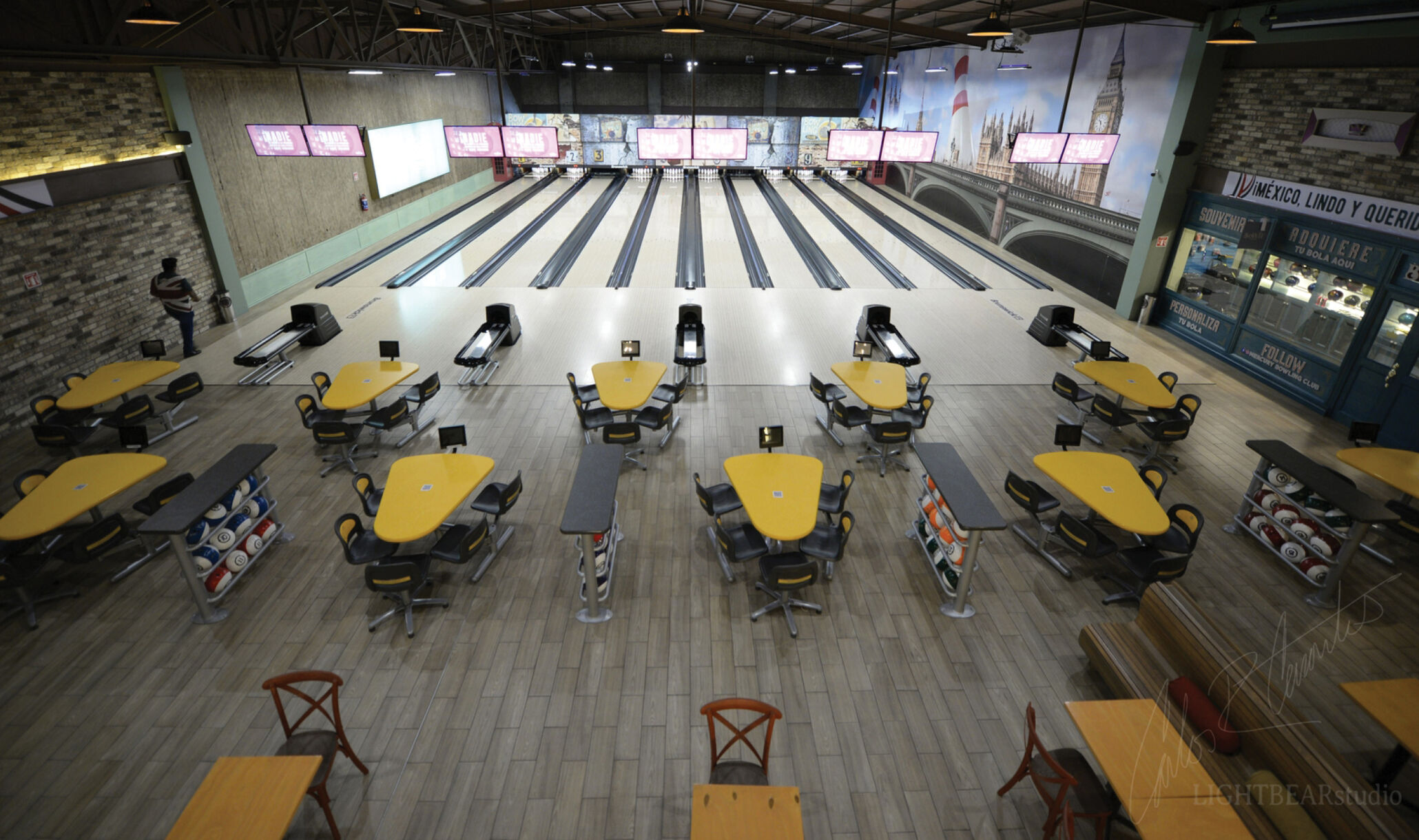 Mercury Bowling Center, Oxaca Mexico - Lanes and seating-1