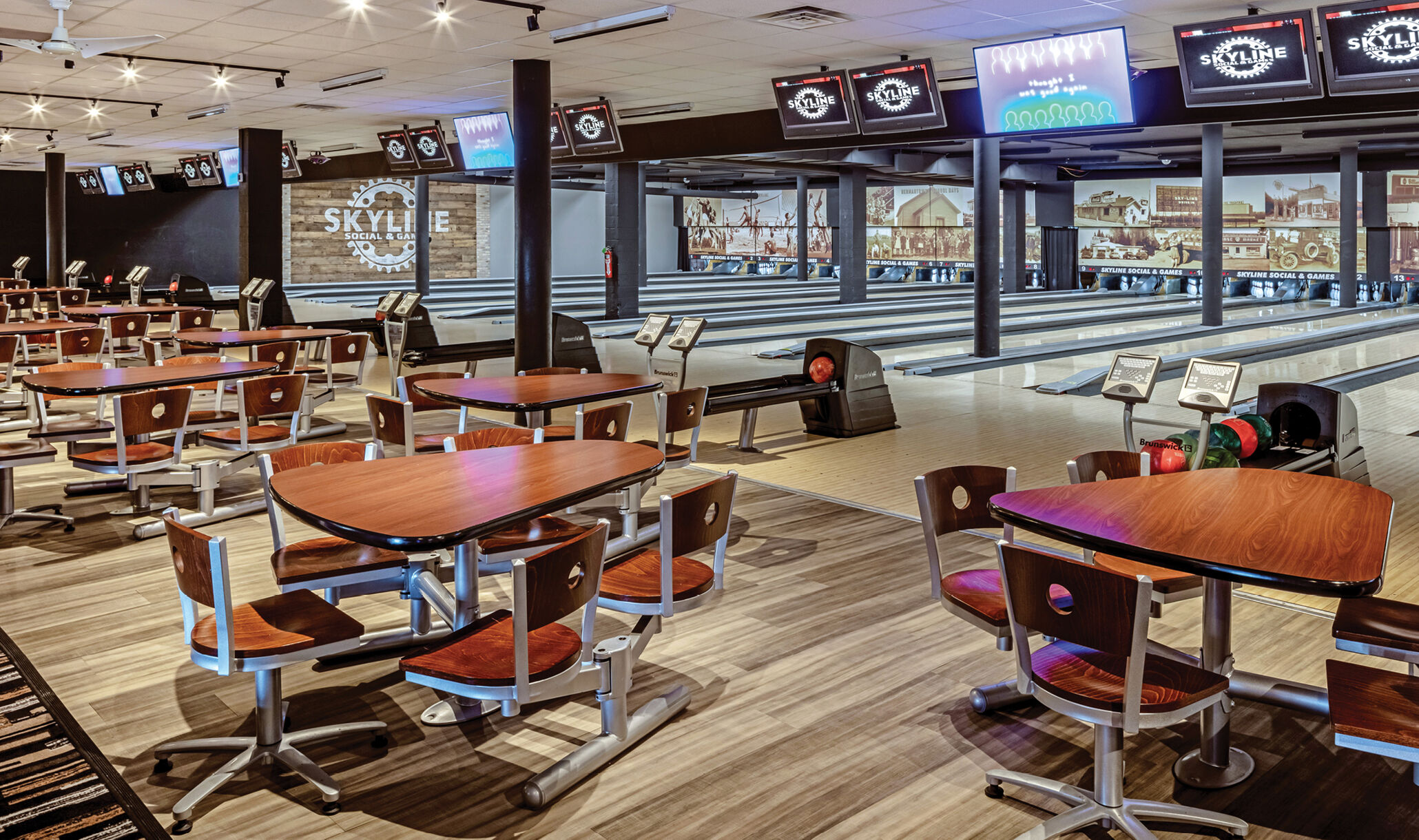 Skyline Social, Hermantown, MN - Bowlers area and lanes-2