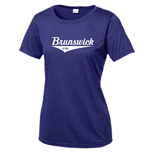 Brunswick Apparel Women's Bowling Shirt in Purple with white logo