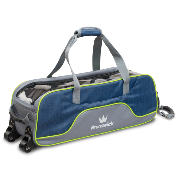 Crown Deluxe Triple Tote in Navy and Lime