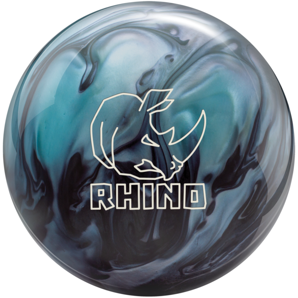 Rhino Metallic Blue Black bowling ball