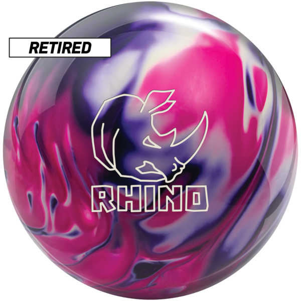 Retired rhino purple pink white bowling ball