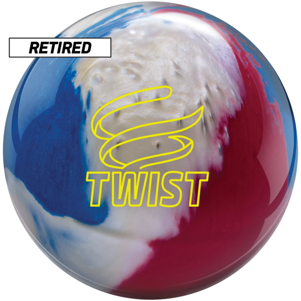 Retired twist red white blue bowling ball