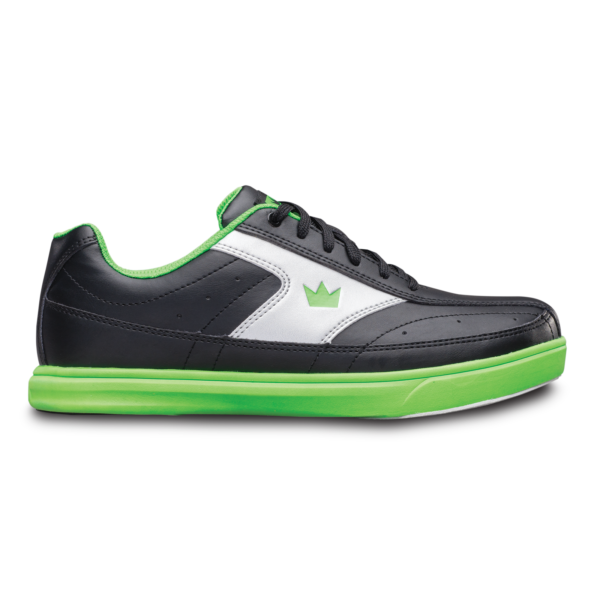 Side view of the Black and Neon Green Renegade shoe