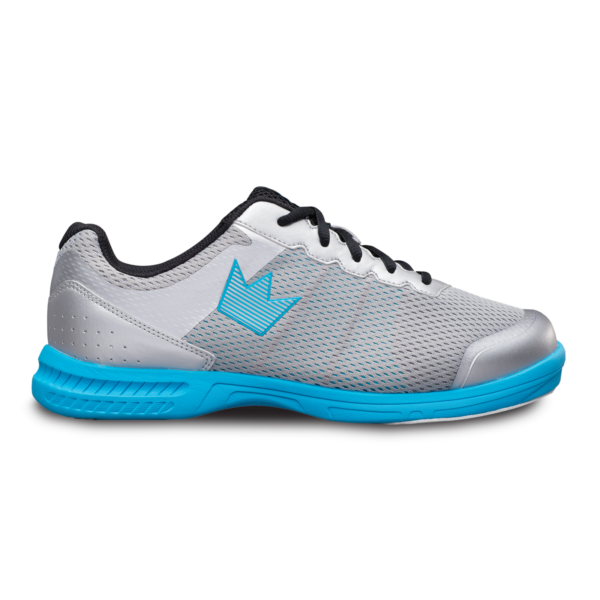 Side view of the Silver and Sky Blue Fuze shoe