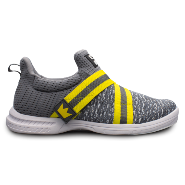 Side view of the Grey and Yellow Slingshot shoe