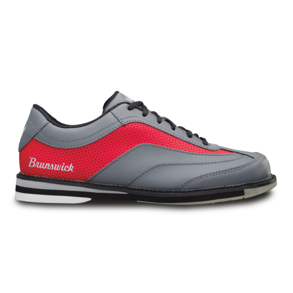 Side view of the Grey and Red Rampage shoe