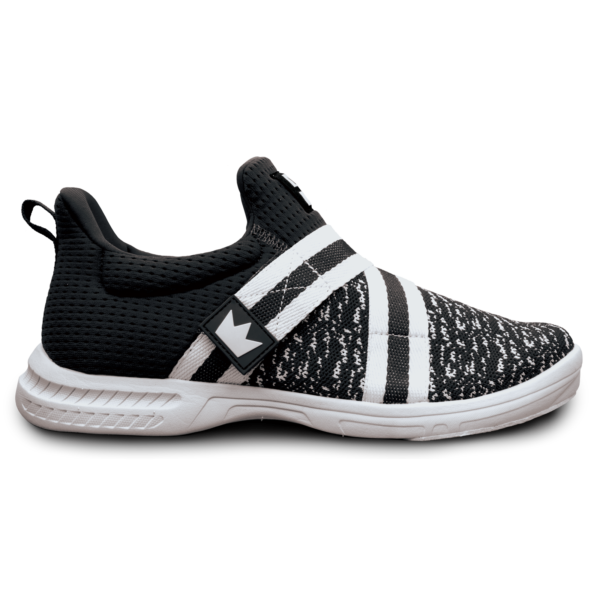 Side view of the Black and White Slingshot shoe