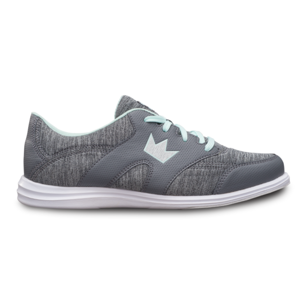 Side view of the Grey and Mint Karma Sport shoe