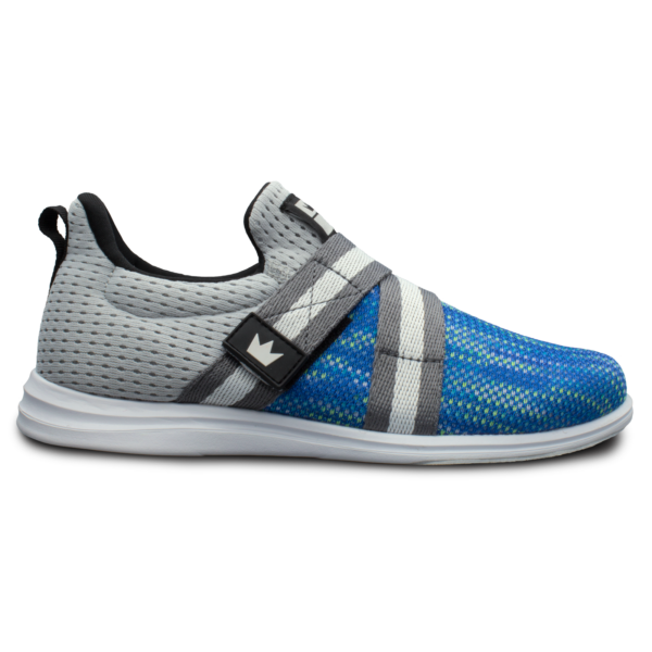 Side view of the Blue and Silver Versa shoe