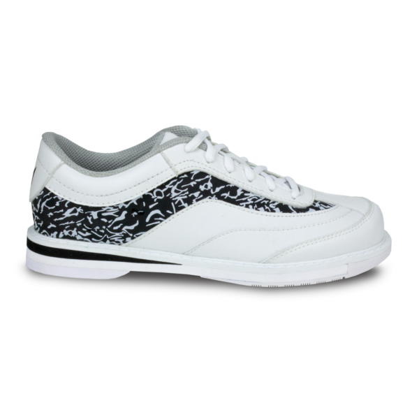 Side view of the White and Black Intrigue shoe