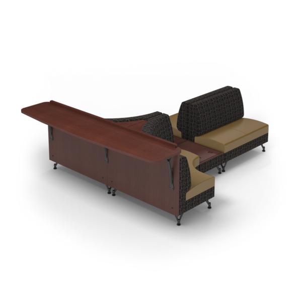 Center Stage Seating with Modwall. Free Orbit Camel Fabric