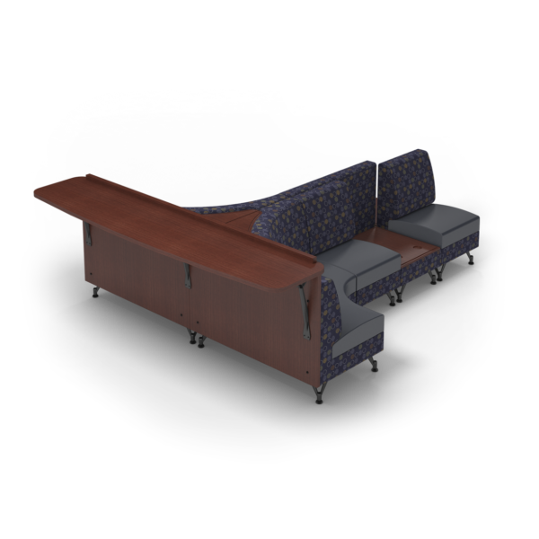 Center Stage Seating with Modwall and Side Tables. Amuse Admiral Imperial Blue Fabric