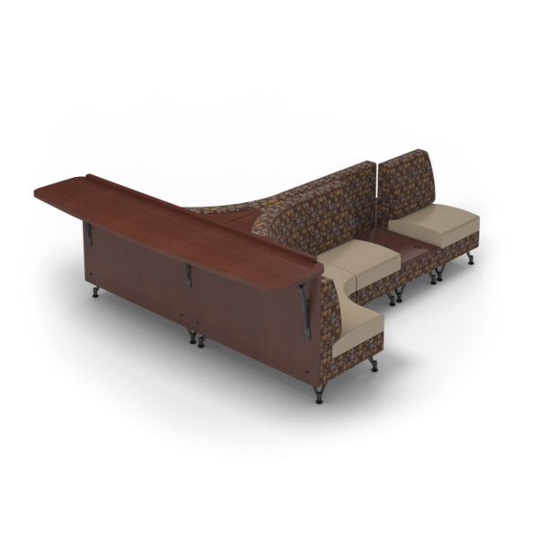 Center Stage Seating with Modwall and Side Tables with Amuse Mocha Sand Fabric