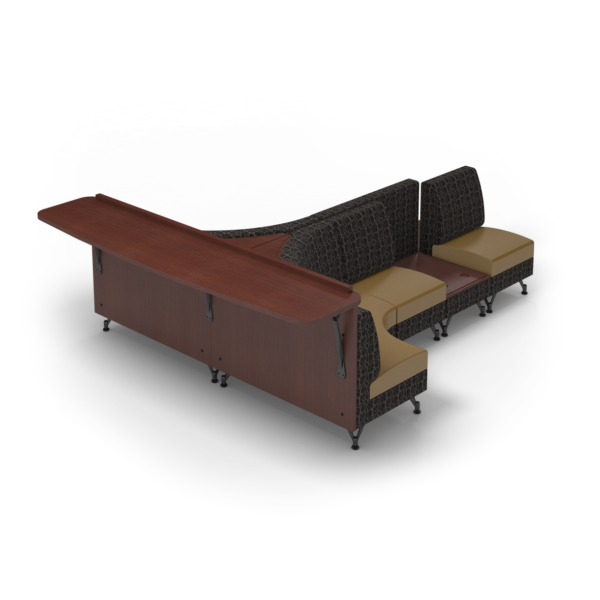 Center Stage Seating with Modwall and Side Tables. Free Orbit Camel Fabric