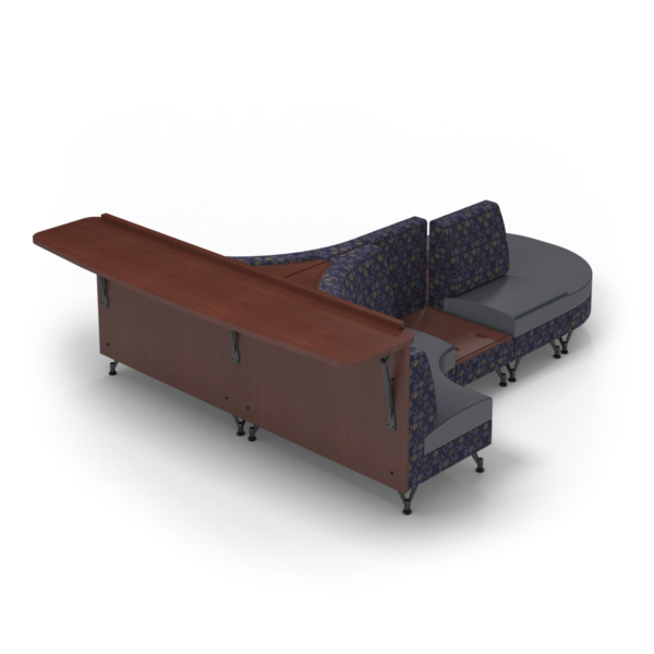 Center Stage Seating Curvy Sides with Modwall. Amuse Admiral & Imperial Blue