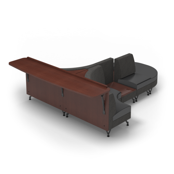 Center Stage Seating Curvy Sides with Modwall. Cloth Taiga & Black
