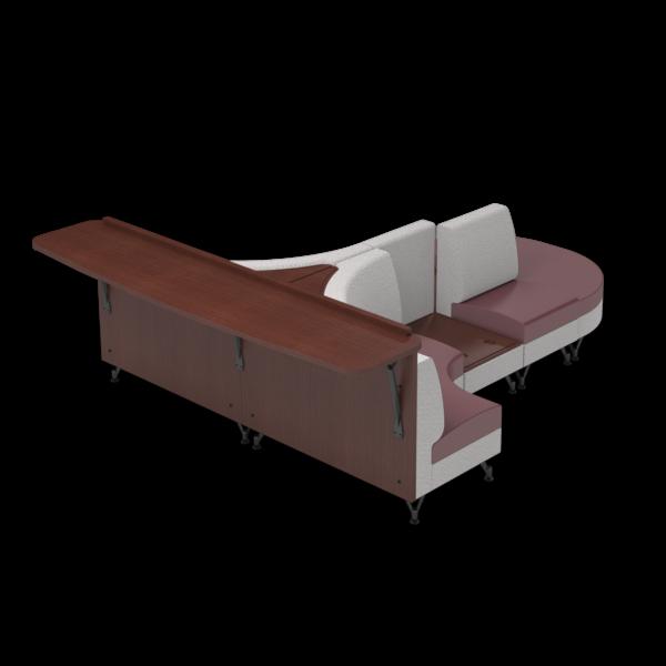 Center Stage Seating Curvy Sides with Modwall. Habit Salt & Dark Cherry