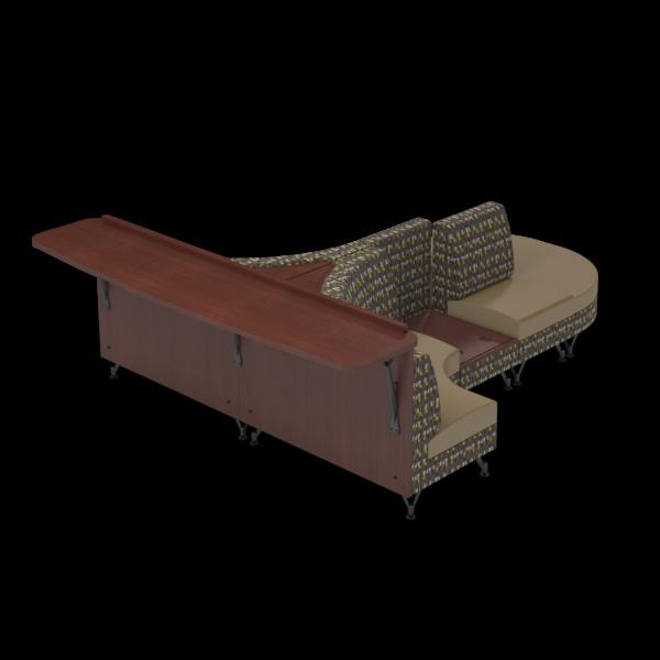 Center Stage Seating Curvy Sides with Modwall. Ledge Seneca & Oak Fabric