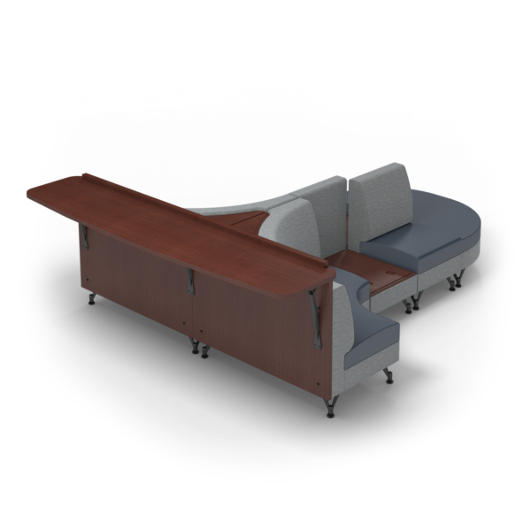 Center Stage Seating Curvy Sides with Modwall. Synergy Aegean & Blue Ridge Fabric Fabric