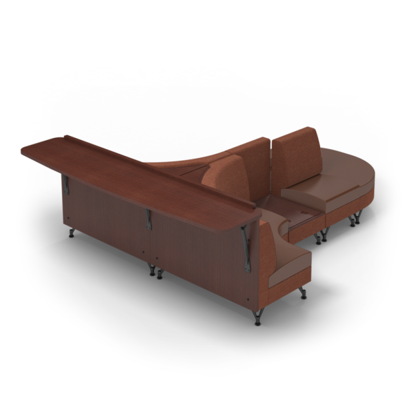 Center Stage Seating Curvy Sides with Modwall. Synergy Tango & British Tan Fabric