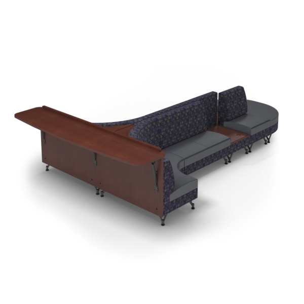 Center Stage Seating with Side Table and Modwall. Amuse Admiral & Imperial Blue