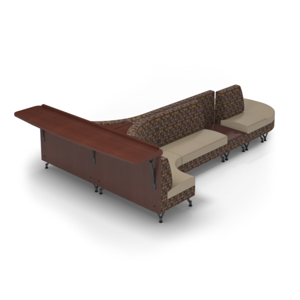 Center Stage Seating with Side Table and Modwall. Amuse Mocha & Sand