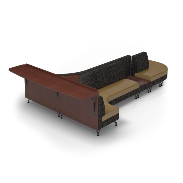 Center Stage Seating with Side Table and Modwall. Free Orbit & Camel