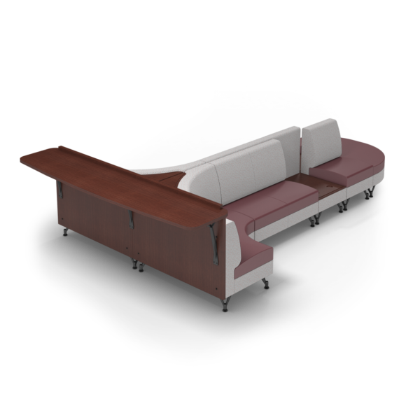 Center Stage Seating with Side Table and Modwall. Habit Salt & Dark Cherry
