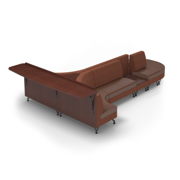 Center Stage Seating with Side Table and Modwall. Synergy Tango & British Tan