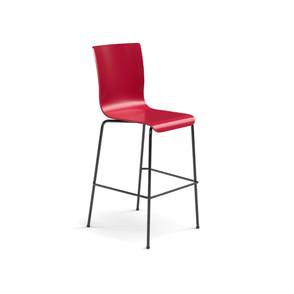 Center Stage Barstool. Carmen Red Plyform with Black Weldment