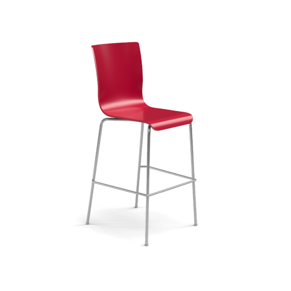 Center Stage Barstool. Carmen Red Plyform with Titanium Weldment