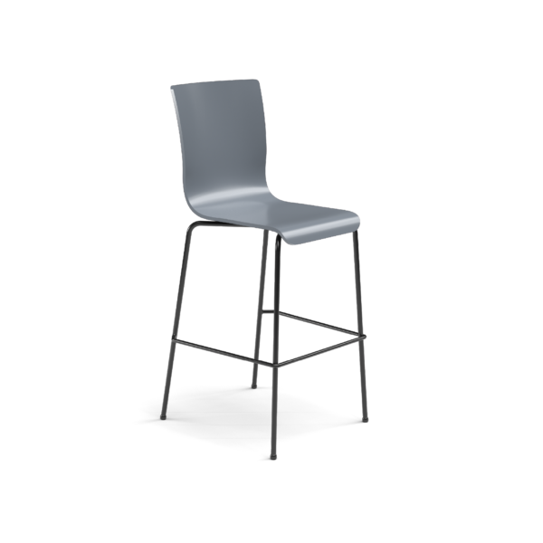 Center Stage Barstool, Graphite Blue Plyform Barstool with Black Weldment