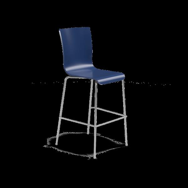 Center Stage Barstool. Regimental Blue Plyform with Titanium Weldment