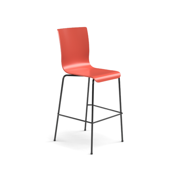 Center Stage Barstool. Cafe Sienna Plyform with Black Weldment