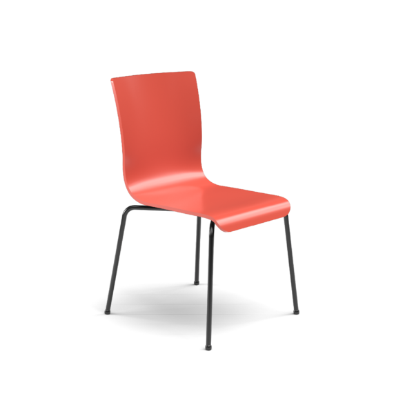 Center Stage Table Height. Cafe Sienna Plyform Chair with Black Weldment