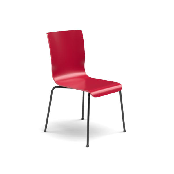 Center Stage Table Height. Carmen Red Plyform Chair with Black Weldment