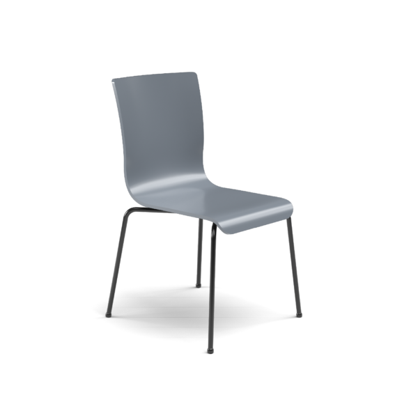 Center Stage Table Height. Graphite Blue Plyform Chair with Black Weldment