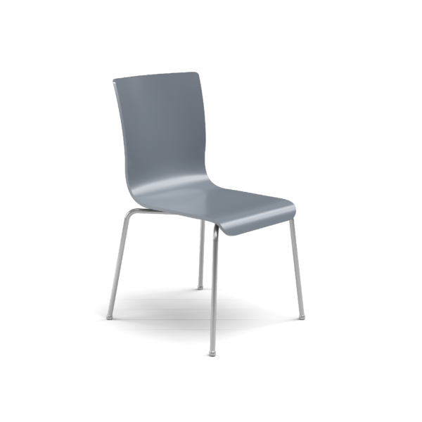 Center Stage Table Height. Graphite Blue Plyform Chair with Titanium Weldment