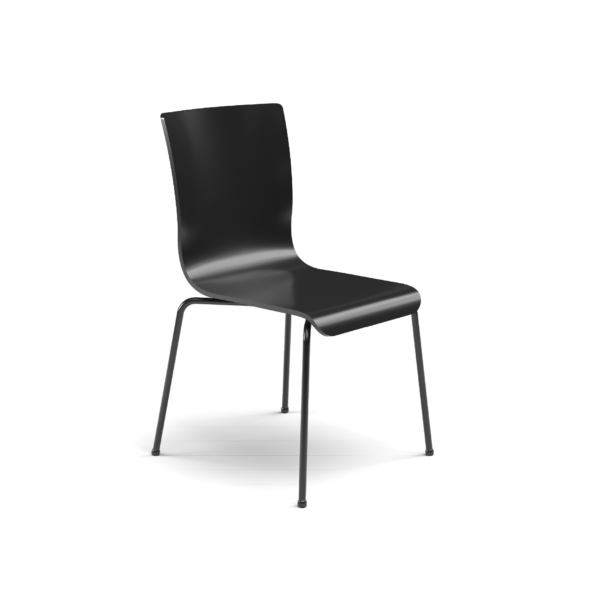 Center Stage Table Height. Jet Black Plyform Chair with Black Weldment