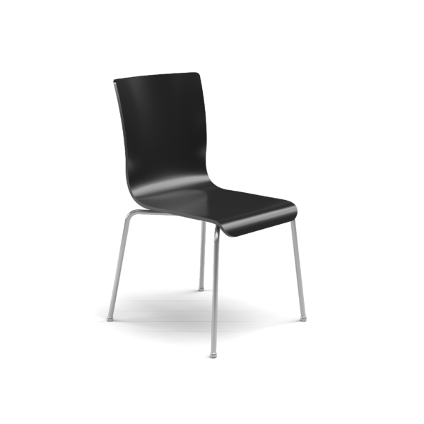Center Stage Table Height. Jet Black Plyform Chair with Titanium Weldment
