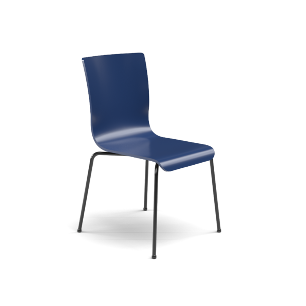 Center Stage Table Height. Regimental Blue Plyform Chair with Black Weldment