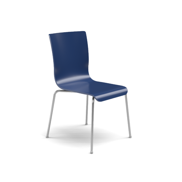 Center Stage Table Height. Regimental Blue Plyform Chair with Titanium Weldment