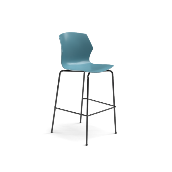 Center Stage Barstool. Grayblue Plastic Center Stage Barstool with Black Weldment