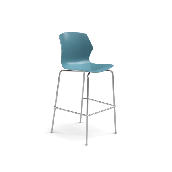 Center Stage Barstool. Grayblue Plastic Barstool with Titanium Weldment