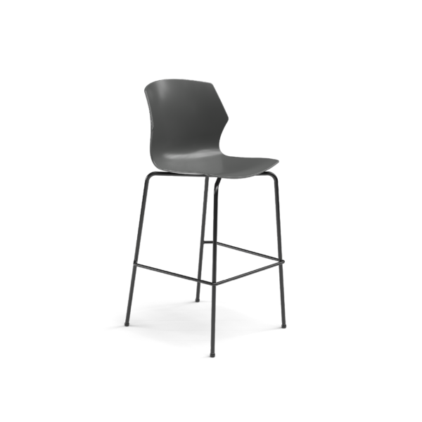 Center Stage Barstool. Road Plastic Barstool with Black Weldment