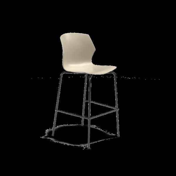 Center Stage Barstool. Sandy Plastic Barstool with Black Weldment