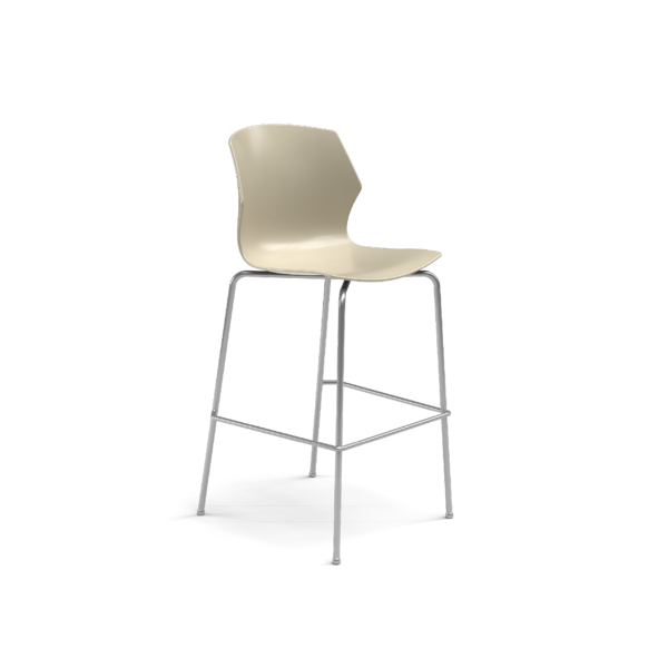 Center Stage Barstool. Sandy Plastic Barstool with Titanium Weldment