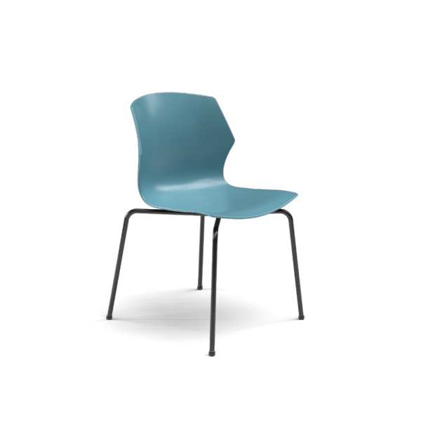 Center Stage Table Height Chair. Grayblue Plastic Bucket Seat with with Black Weldment