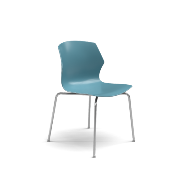 Center Stage Table Height Chair. Grayblue Plastic Bucket Seat with with Titanium Weldment